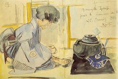 *Mademoiselle Inabata faisant la cérémonie du thé, 22 juillet 1914, Kyoto.*