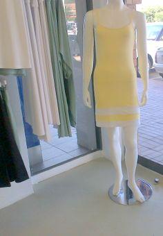 Hazeldean Shakti Shanti Boutique: yellow/white yellow viscose colour block cami dress AC049 Colour Block, Color Blocking, Pastel Yellow, Yoga Wear, Bat Wings, Cami, Off The Shoulder, Sunshine, Boutique