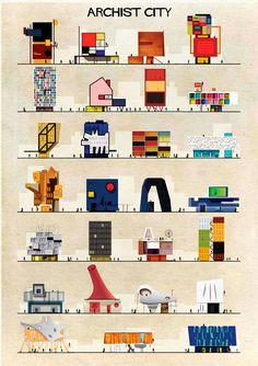 Archist, Ilustraciones de Arte reimaginadas como Arquitectura