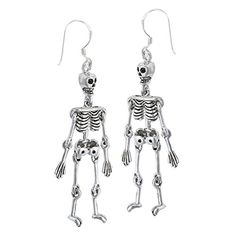 These sterling silver skeleton dangle earrings are movable, and would be a lot of fun to wear for Halloween.