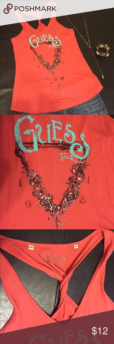 Guess Coral Tank Top Guess coral tank top with twisted racerback and crystal embellished design. Lightly worn, excellent condition!! So soft and comfortable. 55% cotton, 45% modal. Open to reasonable offers! Guess Tops Tank Tops