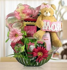 """She will adore the soft, squishy bear holding a """"Mom"""" banner and riding high among special gifts such as a """"Dear Mom. 101 Thoughts From The Heart"""" daily gift book, Old Fashioned Chocolate Cream Puff Mothers Day Baskets, Gift Baskets For Women, Mother's Day Gift Baskets, Gourmet Gift Baskets, Gourmet Gifts, Gift Hampers, Creative Gift Baskets, Creative Gifts, Diy Gifts For Mom"""