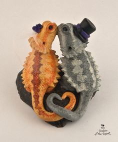 Bearded Dragon wedding cake toppers                                                                                                                                                                                 More