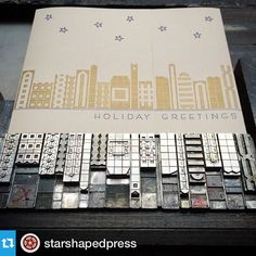 We set a lot of cityscapes and this is by far one of the most popular. Set entirely in Alphablox, this time by honorary Lady of Starshaped, @punkypress. #metaltype #letterpress #holiday #alphablox #daughtersofletterpress #queenofmetaltype