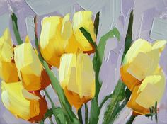 Yellow Tulips no. 10 original floral oil painting by Angela Moulton 6 x 8 inch panel ready to ship April 14 by prattcreekart on Etsy https://www.etsy.com/listing/227283534/yellow-tulips-no-10-original-floral-oil