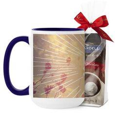 Whimsy Live In The Sunshine Mug, Blue, with Ghirardelli Premium Hot Cocoa, 15 oz, White