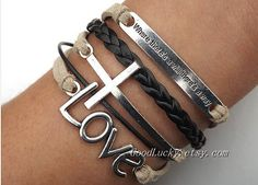 eleamzhong86's save of Self-improvement LOVE Lovers Bracelet--silver LOVE,and cross bracelet--Cream-colored and black wax rope , black Leather braided bracelet on Wanelo