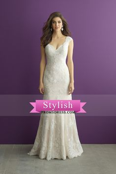 2017 vestidos de novia de cuello en V y espalda abierta de la envoltura de tul con apliques US$ 299.99 STPJR39E5K - StylishPromsDress.com for mobile