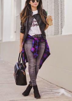 black jacket white t-shirt gray jeans black handbag. Street casual women fashion outfit clothing style apparel @roressclothes closet ideas