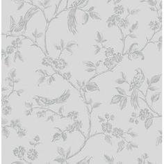 I Love Wallpaper™ Shimmer Birds Wallpaper Soft Grey / Silver (ILW980044) - I Love Wallpaper™ from I love wallpaper UK