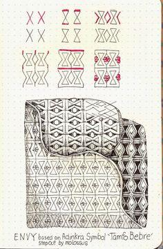 Life Imitates Doodles: Envy tangle pattern #Zentangle #TanglePattern #Adinkra