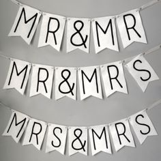 Mr and Mr and Mrs and Mrs Wedding Banner -  Simple Modern Interchangeable Black and White Felt banner, LGBT weddings