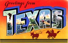 Vintage large letter, linen postcard from the 1930s and 1940s, Greetings from Texas.