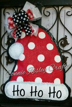 Super cute polka dot Santa hat to welcome your guests this Christmas season. Hand painted burlap, ready to hang right from the box. Measures 19 inches tall and 17 inches wide Connie Risley Crafts Fabric Christmas Ornaments, Christmas Door Wreaths, Christmas Crafts For Kids, Christmas Signs, Christmas Truck, Christmas Items, Christmas Art, Holiday Door Decorations, Snowman Decorations