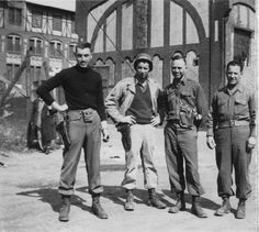 World War II Monuments Men (from left to right) George Stout, Sgt. Travese, Walker Hancock, and Lt. Kovalyak at the excavation of Bernterode (National Archives). George Clooney plays a character based on Stout in the movie. Monument Men, Frederick The Great, Man Movies, National Archives, American Revolution, Fantasy, Military History, World War Ii, Art History