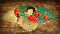 Antique Fold Out Fan Flapper Lady with Parrot and flowers Harold's Reading PA Reading Pa, Victorian Fashion, Parrot, Antiques, Flowers, Fans, Painting, Dress, Style