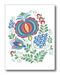 Set of six Greeting cards; Moravian Folk Art --Three different designs; two cards of each design --Size: height, width folded card --includes envelopes --Blank inside --Comes in a protective plastic sleeve --Printed on Premium matte card stock Folk Embroidery, Learn Embroidery, Embroidery Patterns, Machine Embroidery, Floral Embroidery, Folk Art Flowers, Flower Art, Dala Horse, Bordado Popular