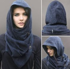 Blue Wool Tweed Snood, unique handmade eco urban style, hooded cowl scarf - Google Search