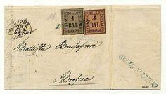 Lettera da Castel S.Pietro via Bologna 24 GEN 60 a Brescia con 1 + 4 baiocchi (2 + 5) ben marginati