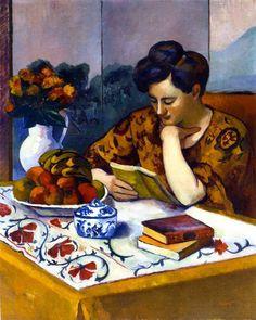 Henri Manguin - Femme lisant un livre jaune, 1910.