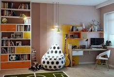 Bedroom, Bookshelf White Armchair Green Carpet Football Soccer Themed Kids Room Wooden Floor Potted Plant Yellow Pendant Lamps Dark Brown Table Lamp Wooden Desk And Glass Window ~ Thematic Kid Bedroom Interior Ideas for Your Baby's Magical Sanctuary