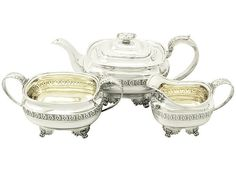 Sterling Silver Three Piece Tea Service - Regency Style - Antique George IV  SKU: A1913 Price  GBP £2,450.00  http://www.acsilver.co.uk/shop/pc/Sterling-Silver-Three-Piece-Tea-Service-Regency-Style-Antique-George-IV-96p4153.htm#.VjnwsSs8rfc