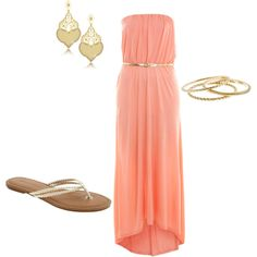 coral & gold, created by alanna-bowes on Polyvore