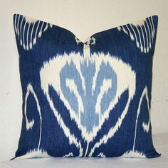Navy Blue Ikat 18x18 inch Decorative Pillows Accent Pillow Throw Pillow Cushion Cover via Etsy