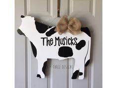Cow Wooden Door Hanger // Farm Wreath // Rancher Door Decor // Southern Door Candy by DPlusThreeDesigns on Etsy https://www.etsy.com/listing/242521388/cow-wooden-door-hanger-farm-wreath