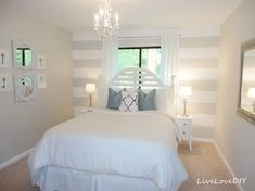 Livelovediy Diy Striped Wall Guest Bedroom Makeover with sizing 1600 X 1200 Grey And White Striped Accent Wall - White bedroom furniture is not as popular Budget Bedroom, Home Decor Bedroom, Bedroom Ideas, Diy Bedroom, Accent Wall Bedroom, Accent Walls, Bedroom Ceiling, Bedroom Lighting, Tan Walls