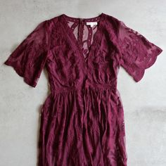 as you wish embroidered lace maxi dress (women) - burgundy - shophearts - 1