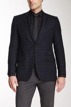 Plaid Two Button Notch Lapel Wool Jacket