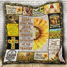 I Can Only Imagine, Jesus Sunflower Quilt King King/Queen/Twin Size Quilts -Soft Microfiber Lightweight Coverlet for All Season Usage - Pattern/Modern Bedding Quilts Religious Gift 3d Quilts, Quilting, Sunflower Quilts, Quilted Gifts, Silky Touch, Religious Gifts, Kona Cotton, Dust Mites, Quilt Blocks