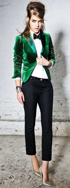Will wear this Fall - a feminine tuxedo jacket paired with high heels. Just probably not the  bow tie. Dsquared2