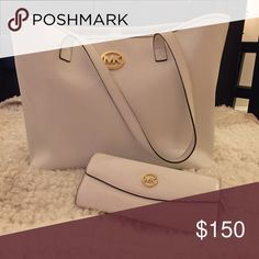 Michael Kors Tote Bag & Matching MK Wallet white exterior, tan interior, average size tote Michael Kors Bags Totes