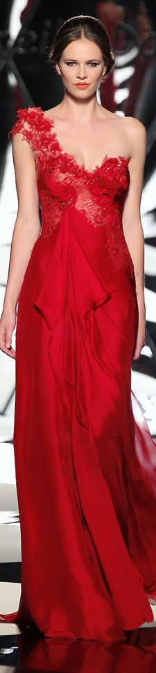The Mireille Dagher Fall-Winter 2013-14 Haute Couture Collection #red #oneshoulder #dress