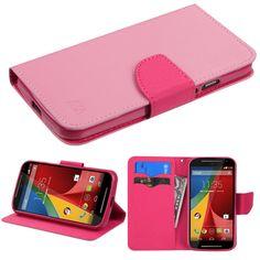 Book-Style Fancy Wallet Motorola Moto G (2nd Gen) Case - Pink/Hot Pink