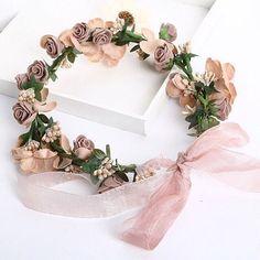 """Купить Венок из цветов на голову """"мокко"""" - венок, венок из цветов, венок на голову, венок с цветами"""