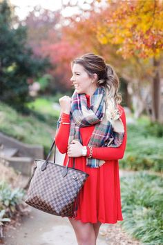 casual holiday style, a casual holiday look, christmas style, christmas scarf, the perfect scarf for christmas, louis vuitton neverful mm ebene, red asos dress, red dress, lucky brown booties, brown booties, casual booties, plaid scarf, plaid blanket scarf