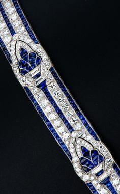 Bijoux Art Deco, Art Deco Jewelry, Modern Jewelry, Fine Jewelry, Jewelry Design, Sapphire Bracelet, Diamond Bracelets, Jewelry Bracelets, Bangles