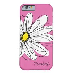 Trendy Daisy Floral Illustration - pink yellow Barely There iPhone 6 Case  | Visit the Zazzle Site for More: http://www.zazzle.com/?rf=238228028496470081 [Referral Link]