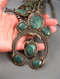 Vintage 1970's Navajo Sterling Red Webbed Turquoise Squash Blossom Necklace Signed Mike Davis Atkinson's 266 Grams