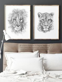 Lion Lioness Illustration Black White Drawing Minimalist Animal Art Print Wild Animals Nursery Kids Room Decor Bedroom Poster set 2 HIM HER Black And White Drawing, Black White, Living Room Prints, Yellow Art, Grey Yellow, Lion And Lioness, Lotus Art, Flower Painting Canvas, Bedroom Posters