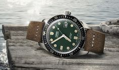 """Oris Divers Sixty-Five Watch With Green Dial - by James Stacey - see & read more on aBlogtoWatch.com """"First blue, and now green. Oris has fought the regular impulse to offer a black dial for the Oris Divers Sixty-Five 42mm watch, and instead has launched a new green-dialed version of their handsome vintage-inspired design. Green dial watches are rather uncommon, but Oris has elected for a deep green..."""""""