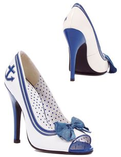 Open Toe Pumps with Ribbon and Anchor Detail
