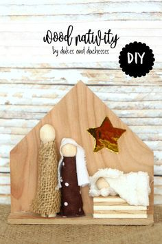 DIY wood nativity made with wood and fabric scraps