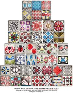 Signs and patterns used in Romanian traditional art. Folk Embroidery, Embroidery Patterns, Cross Stitch Patterns, Sewing Patterns, Traditional Fabric, Traditional Art, Graph Design, English Paper Piecing, Stencil Painting