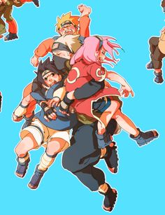 I can't ever help but notice how Kakashi seems like a parent for the three. Its beautiful.