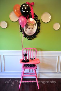 Cute highchair first birthday set up from Kara's Party Ideas