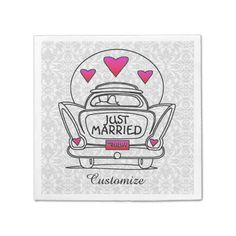 Personalized Just Married Honeymoon Car Napkins 2